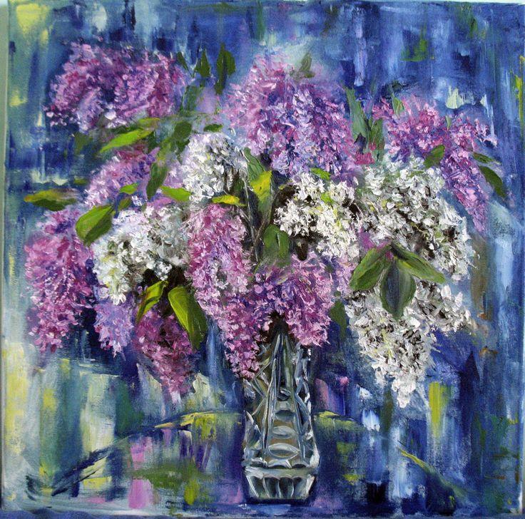 Lilac. Original oil painting. Oil still life. Floral still life. Flowers painting.  Palette knife painting