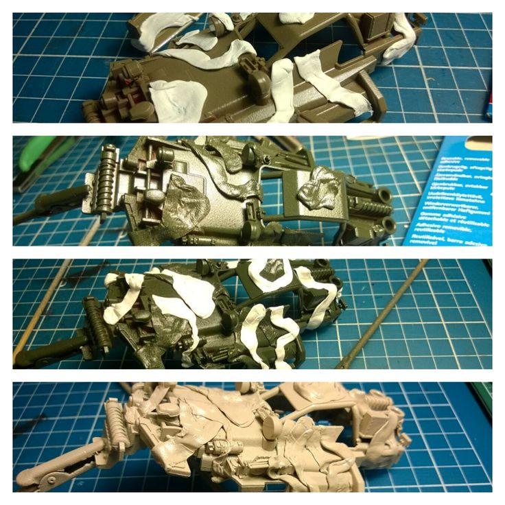 Building the Mini 4WD Hot Shot Military camo custom - painting the camo