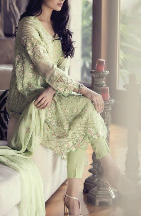 Buy Parrot Green Embroidered Chinese Chiffon Dress by Maria B. Chiffon Eid Collection.