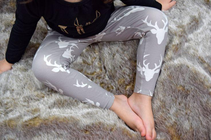 Kids Leggings / Deer Toddler Leggings  / Kids Hipster Legging  /Toddler Grey Deer Leggings / Kids Boy Leggings / Toddler Leggings / Hipster by TrendyTendency on Etsy