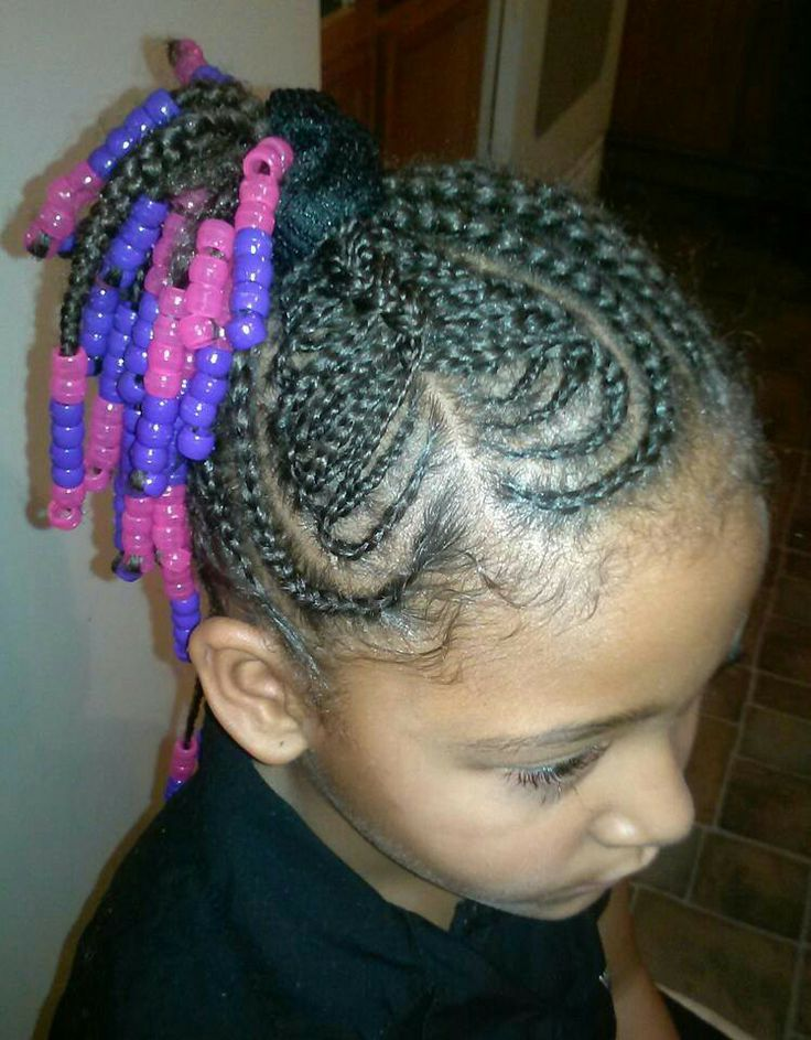 Heart Design With Beads Cornrow Styles For Little