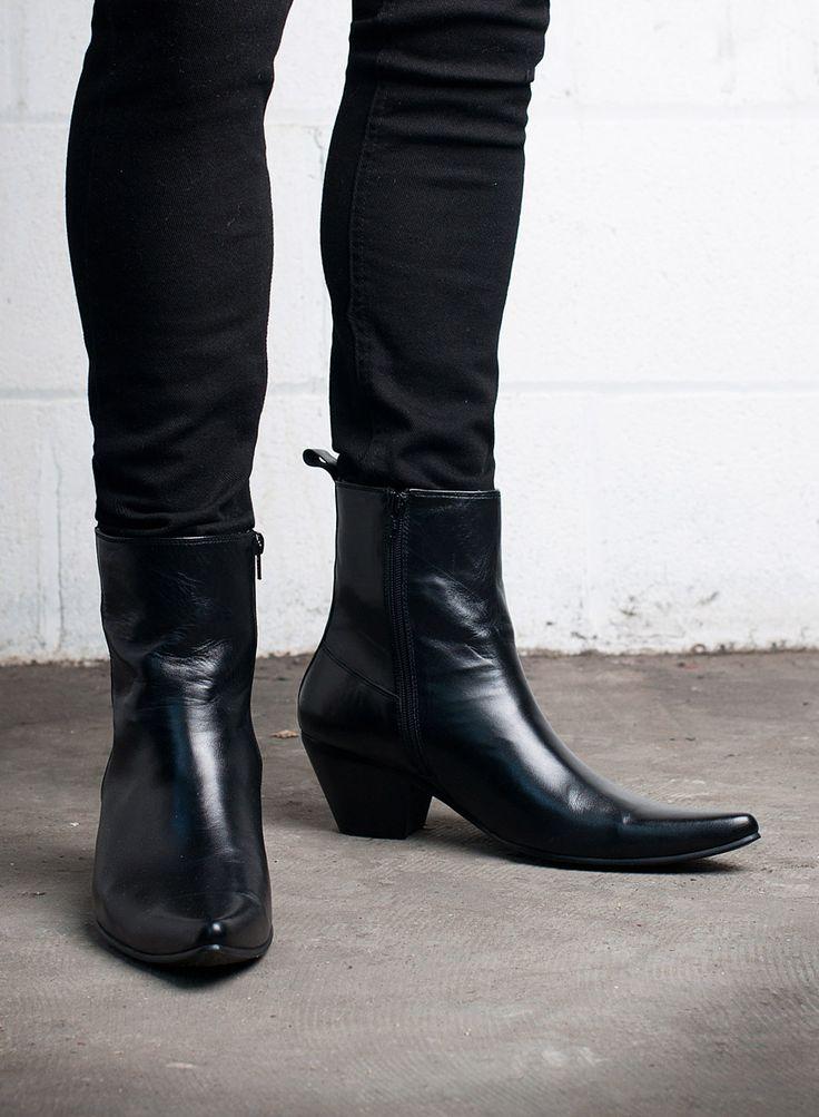 Kid Leather Blamens Winklepicker Boot Zip Cuban Heel Black