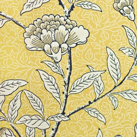 Chinese Peony Floral Wallpaper Yellow Wallpaper with floral print in cream and charcoal.