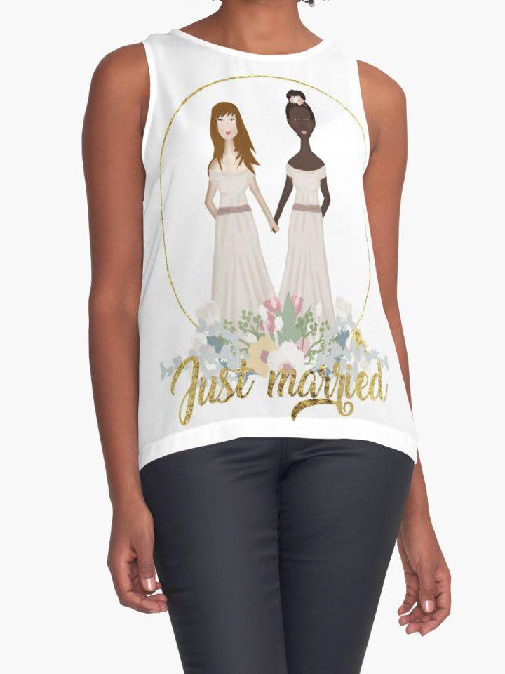 Just Married Wedding Gift Favors Bride Groom Honeymoon Anniversary Gold Team Brides Lesbian Women White Black Interracial Gay Pride LGBT by CozyTeesBuffalo