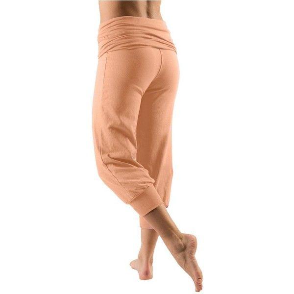 Cropped Fold Over Harem Pants ❤ liked on Polyvore featuring pants, capris, red pants, harem yoga pants, cropped capri pants, fold over yoga pants and red harem pants