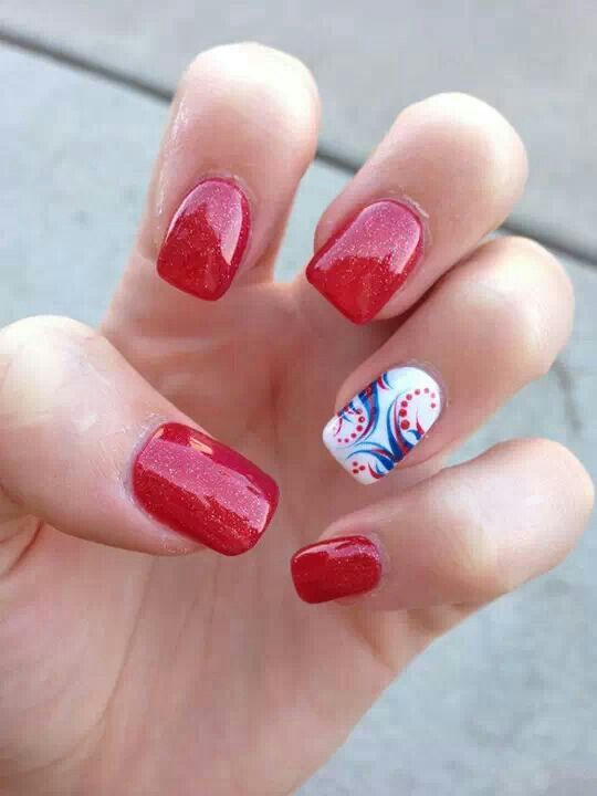 120 best red white blue nails images on pinterest make up cherry red white blue glitter nail designs prinsesfo Gallery