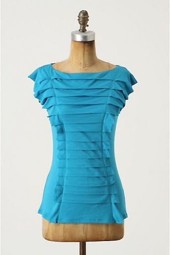 US $19.99 Deletta for Anthropologie Teal Blue Squeezebox Pleated Ruffle Shirt Medium