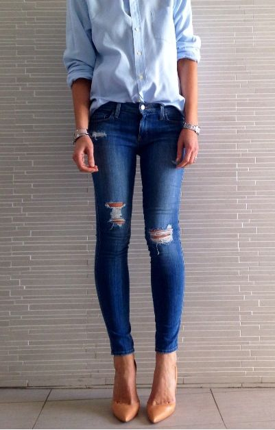 Denim on denim and nude pumps heels