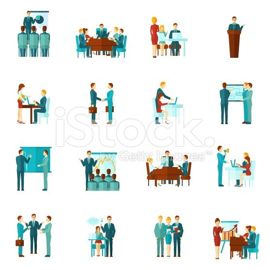 Business Training Flat Icons royalty-free stock vector art +++ images