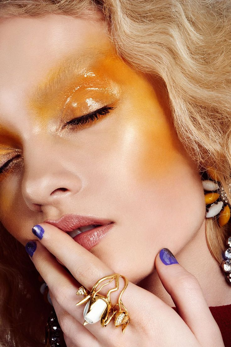 Jaw-Dropping Makeup Looks Guaranteed To Inspire #refinery29  http://www.refinery29.com/beauty-rules-for-eye-makeup#slide-3  If you do decide to go all out (hello Instagram Likes!), Anthony suggests getting three hues of your chosen color. Here, he started with lemon yellow all over, followed up with a deeper saffron to intensify the contour, then finished with a bright, white-yellow for a complementary highlight. Blend the color far past your usual comfort zone (who said it should stop at…