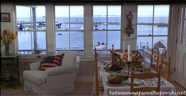 Sabrina (movie):  Love this view through all these fabulous windows!  In real life, this cottage overlooks the fishing port of Chilmark.  Interesting fact: The cottage once belonged to Billy Joel.