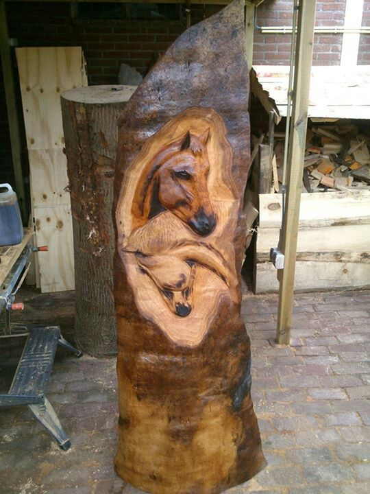 Horse relief carving for log posts
