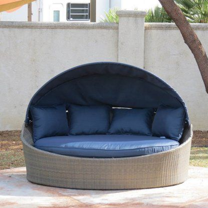 Creative Living Moorea All-Weather Wicker Cabana Day Bed with Canopy