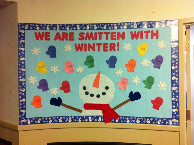 "Winter bulletin board. ""We are smitten with winter"" and the mittens have the children's names on them.:"