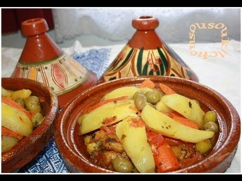 Tajine Poulet P.de Terre et Olives/Chicken Tagine with Potato,Olives -Sousoukitchen - YouTube