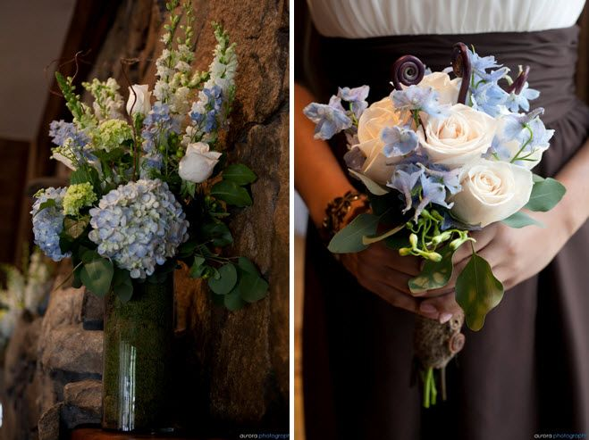 Orange And Blue Hydrangea Bouquet | Bridesmaids bouquets made of ivory roses, light blue delph and monkey ...