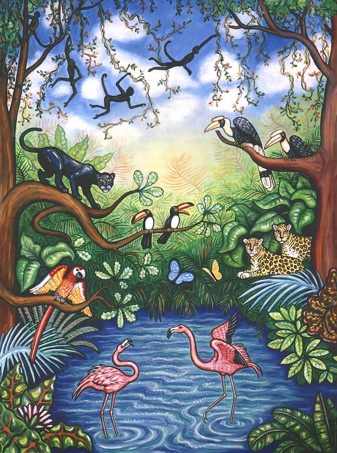 Jungle One by Linda Mears ~ tropical art ~ flamingos ~ monkeys ~ exotic birds ~ exotic cats