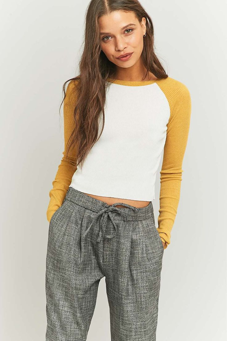 Urban Outfitters Cropped Raglan Baseball Top
