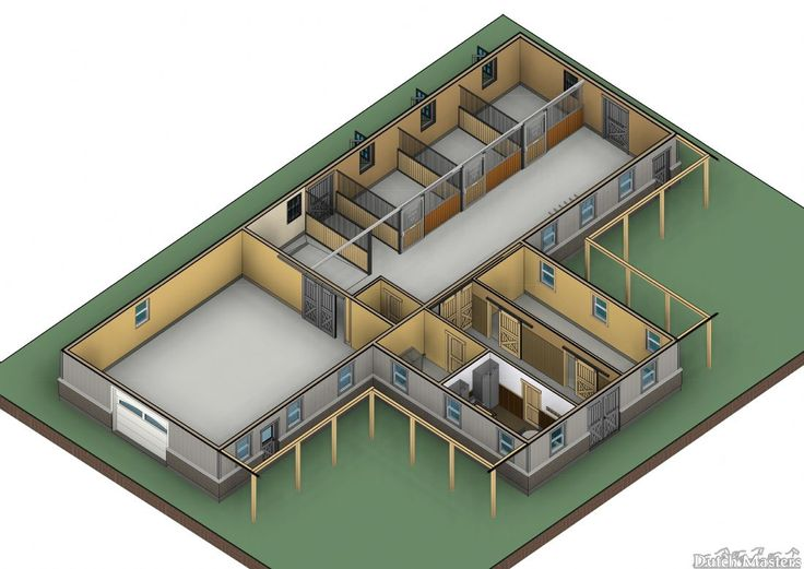 Isometric image shows the layout in 3D. One of the ways Dutch Masters can help you visualize your future stable