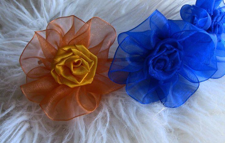 Flor de  Fita de ORGANZA e cetim-  Ribbon Rose,Tutorial