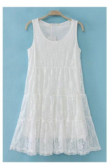 So Cute! Perfect White Summer Dress! Sleeveless White Lace Dress #Cute #White_Lace #Fashion