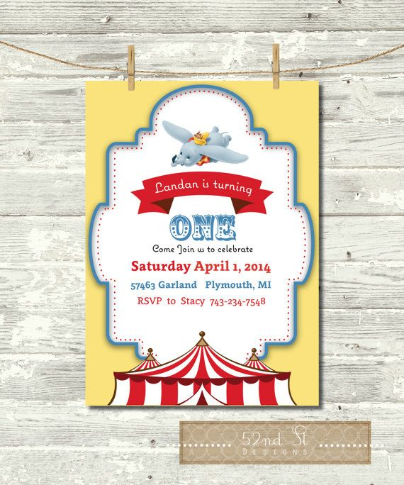 Hey, I found this really awesome Etsy listing at https://www.etsy.com/listing/199588060/dumbo-circus-birthday-invite