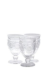 3 PACK EMBOSSED WINE GLASSES 130