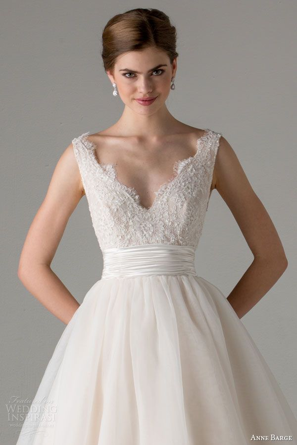 Anne Barge bridal fall 2015 | leah sleeveless ball gown wedding dress blush scalloped v neckline straps close up