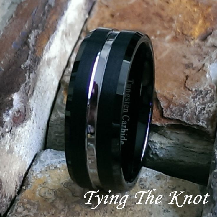 8mm Mens Black Tungsten Carbide - Satin Finish w/Silver Tone Center Comfort Fit Personalized Mans Wedding Ring Band - AZ37 by TyingTheKnot925 on Etsy https://www.etsy.com/au/listing/222660898/8mm-mens-black-tungsten-carbide-satin