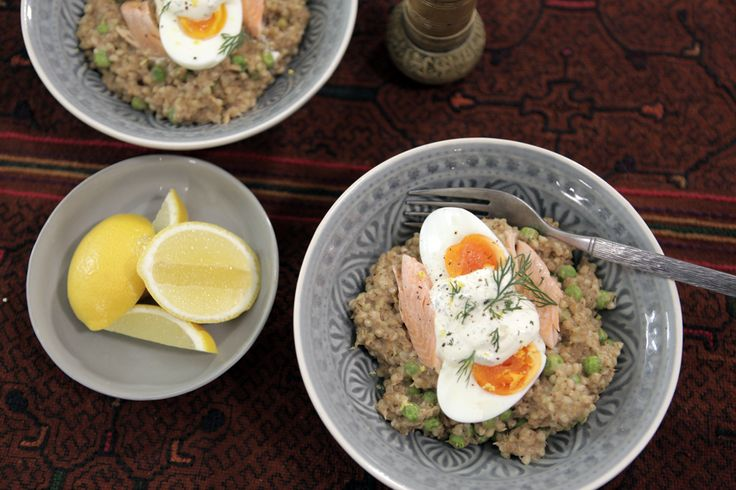 DANI VALENT COOKING - Buckwheat Kedgeree. Kedgeree is an Anglo-Indian rice dish which includes smoked fish, boiled eggs and curry spices. I've turned it into a sustaining breakfast risotto by using nutty, wholesome buckwheat instead of rice. Sign up for more fabulous recipes and video demos at www.danivalentcooking.com Also check out Dani's new Thermomix book and chip, Entertaining with Dani Valent. #Thermomix #kedgeree #brunch #risotto