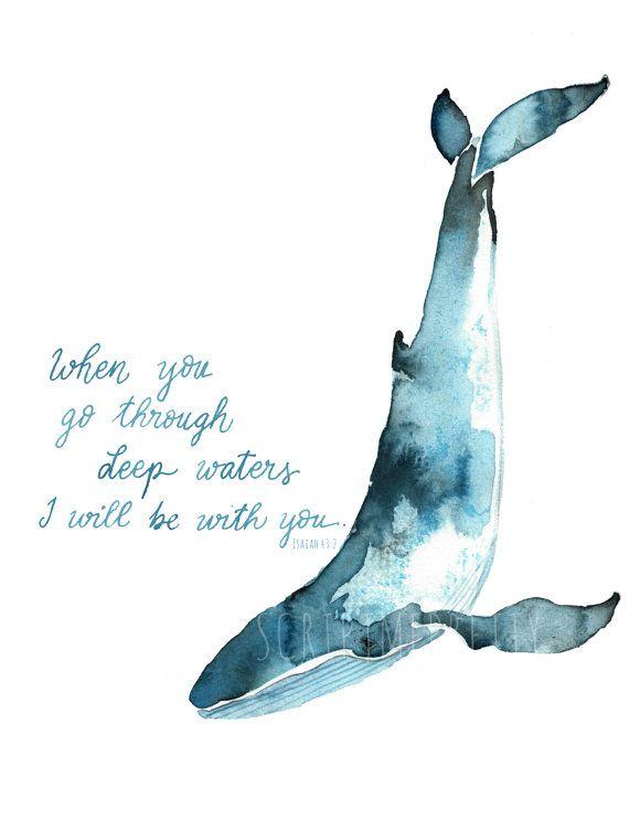 Acuarela arte  Isaías 43:2 la ballena