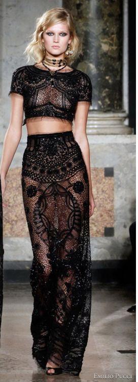 Pucci: Black Lace, Women Fashion, Emilio Pucci, Lace Tops, Fashion Clothing, Crop Tops, Couture Dresses, Lace Dresses, Emiliopucci