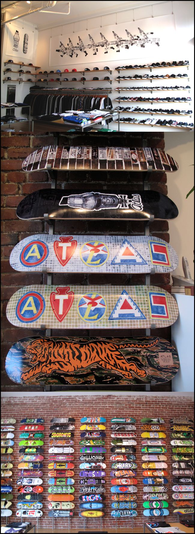 I have seen many skate shop like this one that use plain brick walls for displays, In my opinion i think its really cool and urban because it links to the streets, where skaters would ride before there was any skateparks.