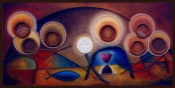 LA ULTIMA CENA (Painting) por Agustin Valero Montaño OLEO SOBRE TEXTURAS DE TEXTILES, EN PANEL DE MADERA (VENDIDO)