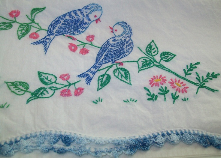 Embroidered dresser scarfs and pillow cases were a big deal...and a treasured keepsake