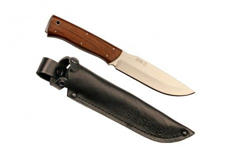 """STRIZH KIZLYAR KNIFE WALNUT.""""Strizh"""" is the Russian name for the swift bird. The blade of the Kizlyar Strizh almost precisely follows the contour of the bird's wing.Strizh is a simple, classic hunting knife. It effectively copes with any field task having a highest capacity for work.In urgent cases Strizh can be successfully used as a fighting knife. #camp #blade #weapons #Russian #knife #carving #hunting #sheath #walnut #handmade #kizlyar #bayonet #cutting #knives #swift"""