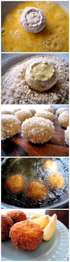 Fried Stuffed Mushrooms