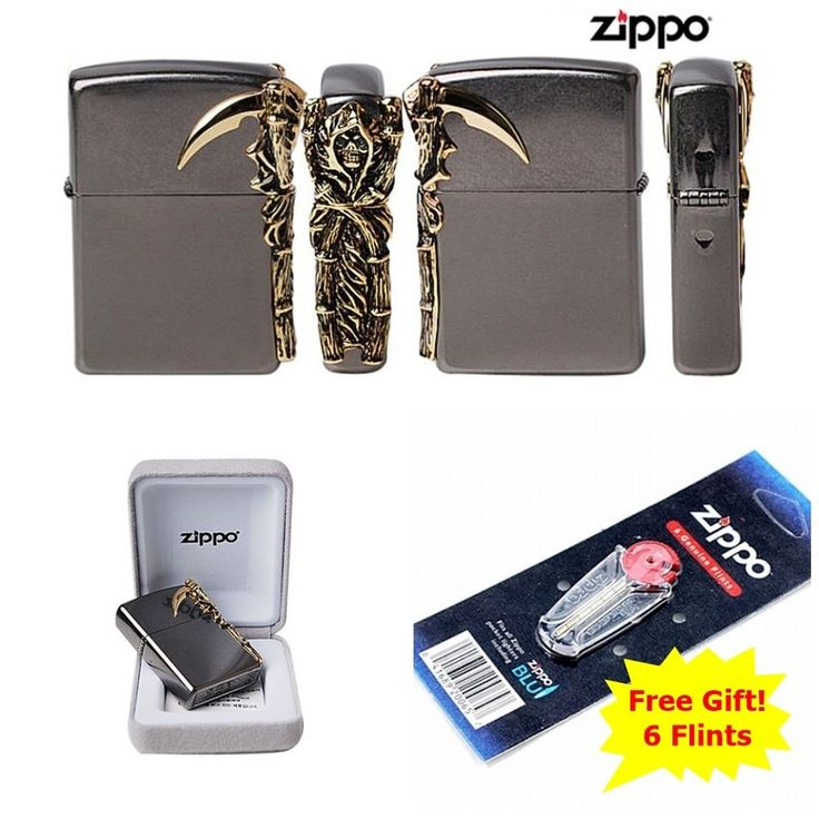 [Zippo] Grim Reaper/ Windproof Lighter Made in USA GENUINE + 6 Flints for free