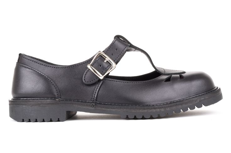 Black leather T-Bar school shoe. High back height and deep fit to protect andsupport the foot. Removable insole. Can beworn withown orthotics. Leather upper. Rubber grip tread sole. Made in Dunedin, New Zealand.