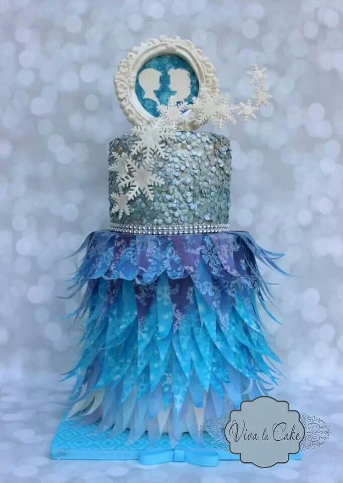 Frozen Style Wedding Cake Rice Paper Has Been Used For Dramatic Effect