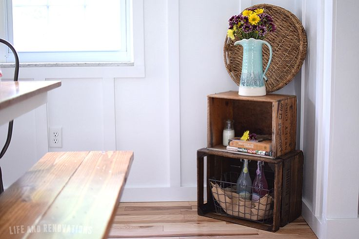 vintage crate decorating