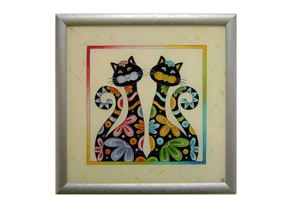 Happy Black Cat Wall Picture, Cat Home Decor, Cat Children Room Decor, Original Paiting