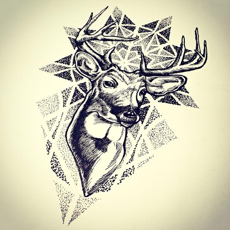 Deer dotwork sketch Neck tattoo, Deer tattoo designs