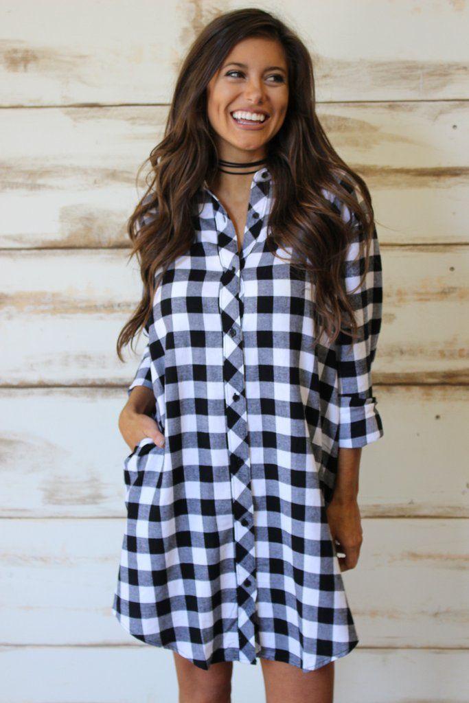 Plaid Flannel Tunic- Black