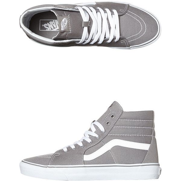Vans Womens Sk8 Hi Shoe found on Polyvore featuring shoes, sneakers, frost gray, gray high top shoes, vans high tops, striped shoes, grey high tops and grey shoes