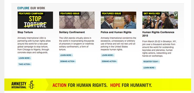 http://www.amnestyusa.org/ - featured actions in the footer
