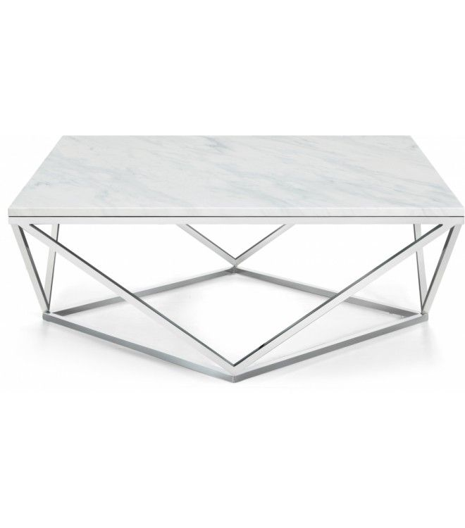 Square White Marble Geometric Silver Base Coffee Table Silver