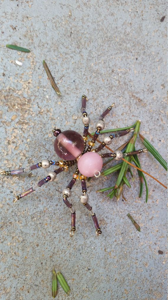 Purple Beaded Spider by OptimisticOut1ook on Etsy
