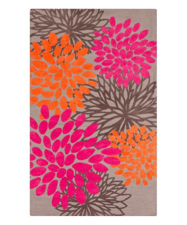 Loving this Neutral & Pink Floral Rug on #zulily! #zulilyfinds