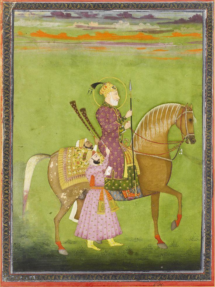 Shah Alam Bahadur Shah on horseback with two attendants waving morchals